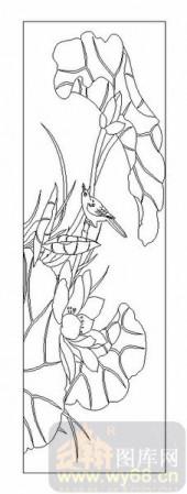 04花草禽鸟-荷花-00084-玻璃雕刻