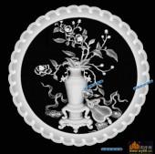 圆盘雕图灰度图-023-花束-004-圆盘雕图精雕灰度图