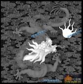 03-龙戏-044-龙凤浮雕灰度图