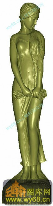 少女立像-圆柱雕刻素材