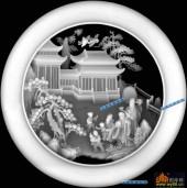 圆盘雕图灰度图-023-福禄寿-033-圆盘雕图精雕灰度图