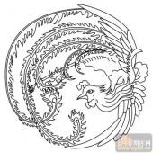 凤-白描图-飞鸾翔凤-huangf038-凤线描图