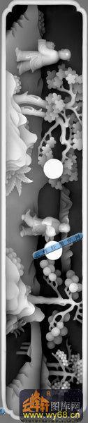 多宝格-紫檀多宝格(柜子001)-多宝格雕刻灰度图