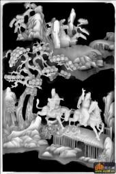 八仙多宝格-张果老-八仙柜面02-精雕灰度图