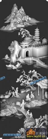百子图001-桃花源-扇2-百子图浮雕图库