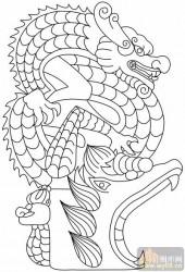 龙-白描图-活龙鲜健-long153-传统龙图案