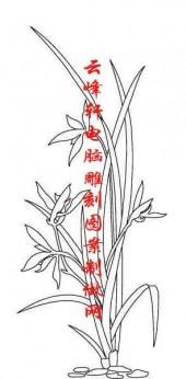 梅兰竹菊-白描图-兰草-mlxj002-梅兰竹菊雕刻图案
