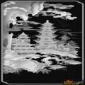 房屋 山水 树-电脑雕刻图