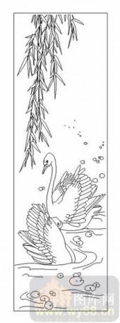 04花草禽鸟-天鹅-00024-雕刻玻璃图案