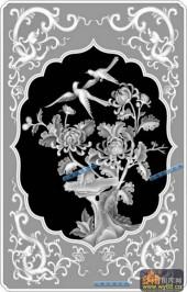 04-菊花-083-花鸟浮雕灰度图