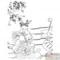 工笔白描牡丹画-鸟语花香-mdbm012-白描牡丹画