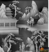 八仙多宝格-铁拐李-汉钟离-八仙浮雕灰度图