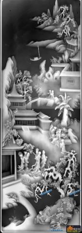 百子图002-仙境-下柜1-浮雕灰度图