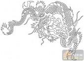 龙-白描图-凤舞龙飞-long154-传统龙图案