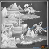 琴其书画-抚琴-004-多宝格琴棋书画灰度图