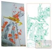 2011设计艺术玻璃刻绘-双鸟3-喷砂玻璃图库