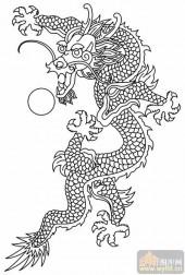 龙-白描图-龙戏珠-long20-传统龙图案