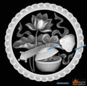 圆盘雕图灰度图-023-荷花-018-圆盘雕图浮雕灰度图