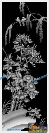 01-菊花-009-花鸟精雕灰度图