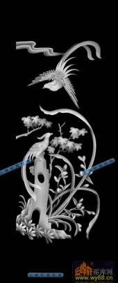 01-野雉-075-花鸟精雕灰度图