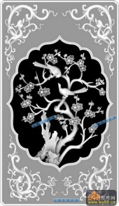 04-梅花-084-花鸟浮雕灰度图