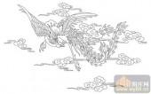 凤-白描图-飞鸾翔凤-huangf001-传统凤图案