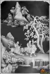 八仙图-八仙柜面04-暗八仙浮雕灰度图