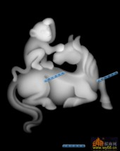 01-猴子与马-114-玉雕灰度图案
