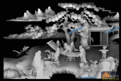 琴其书画-书法-002-多宝格琴棋书画精雕灰度图