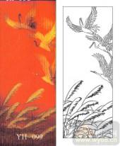 玻璃门-肌理雕刻系列1-鹤舞-00099