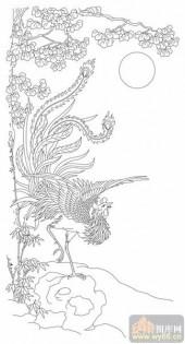 凤-白描图-凤鸣朝阳-huangf018-凤白描