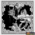 山水 宝塔 树-浮雕灰度图
