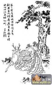 1马企周十八罗汉-白描图-1;第一坐鹿罗汉:宾罗跋罗多-罗汉国画白描