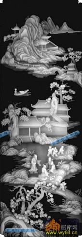 百子图001-桃花源-扇4-百子图浮雕灰度图
