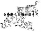 虎1-矢量图-虎嬉-21-虎雕刻图案