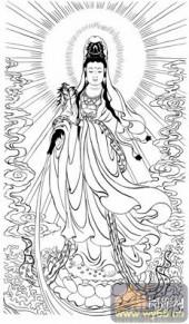 观音-白描图-53净水观音-3-观音菩萨雕刻图案