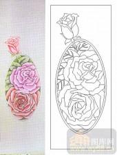 05肌理雕刻系列样图-牡丹花-00185-喷砂玻璃图库