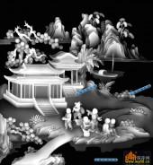 百子图002-童戏-12324-百子图灰度图案