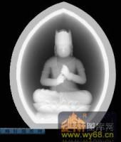 小佛-打坐-012-玉雕浮雕灰度图