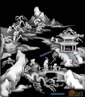 琴棋书画004-出游-002-琴棋书画浮雕图库