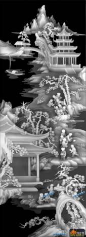 百子图002-亭台楼阁-6-百子图灰度图