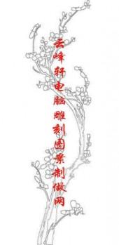 梅兰竹菊-白描图-梅花-mlxj023-梅兰竹菊雕刻图案