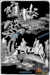 八仙桌-八仙柜面021-八仙桌精雕灰度图