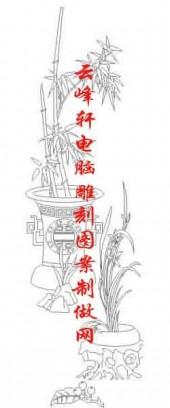 梅兰竹菊-白描图-兰草 花瓶-mlxj003-梅兰竹菊全图