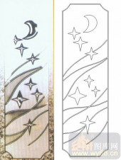 装饰玻璃-浮雕贴片-星星月亮-00059