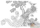 凤-白描图-梧凤之鸣-huangf012-白描凤画