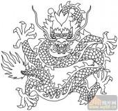 龙-白描图-虎卧龙跳-long53-龙线描图