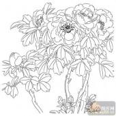 工笔白描牡丹画-矢量图-4春浓-矢量牡丹