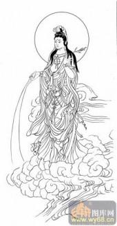 观音-白描图-57净水观音-7-观音菩萨国画白描