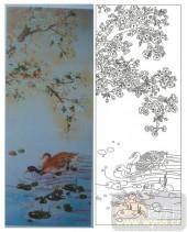 2011设计艺术玻璃刻绘-双鸭-喷砂玻璃图库
